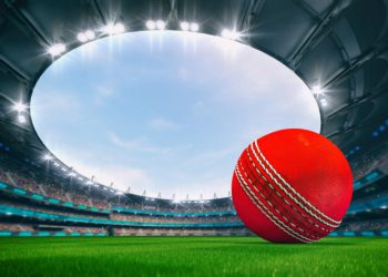 Magnificent outdoor stadium with a cricket ball on the green lawn of the field with spectators on the stands. Professional world sport 3D illustration background.