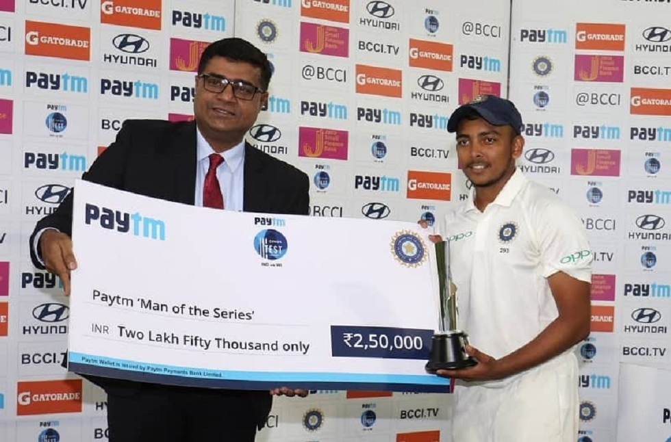 Prithvi Shaw Man of the Series West Indies